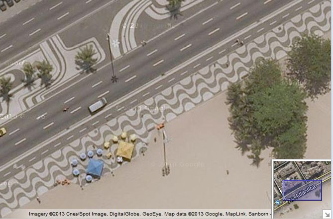 Copacabana Sidewalk Rio - Google Satellite