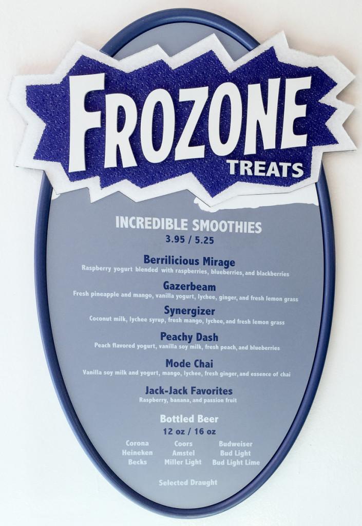 Frozone Treats Menu Disney Magic June 2015