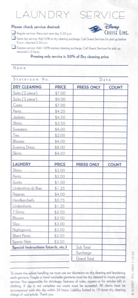 DCL Laundry Service Order Form
