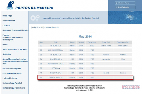 Funchal Portugal Maderia Web Page Disney Magic May 2014