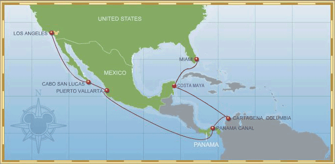 14-Night Eastbound Panama Canal Cruise 2012 Itinerary Map