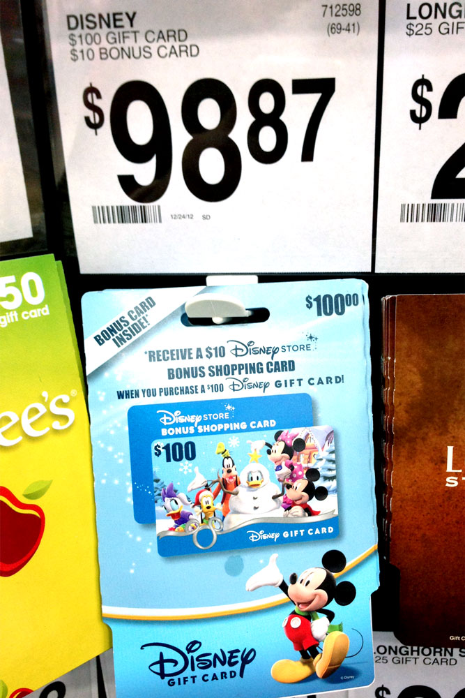money saver 100 disney gift cards with a bonus 10 gift card are