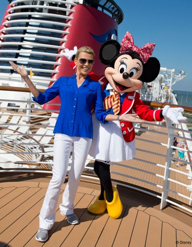 Wheel of Fortune's Vanna White with Minnie Mouse onboard the Disney Dream
