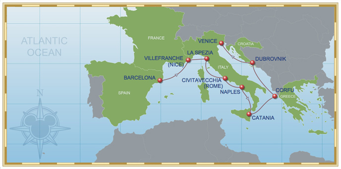 12-Night Mediterranean Cruise (with Greece) on Disney Magic - Itinerary C (Barcelona to Venice) Map