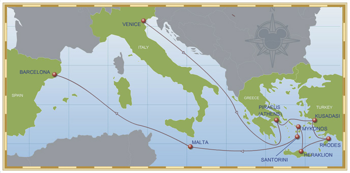 12-Night Mediterranean Cruise (with Greece) on Disney Magic - Itinerary D (Venice to Barcelona) Map