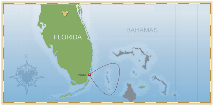 2-Night Bahamian Cruise on Disney Magic - Itinerary A Map