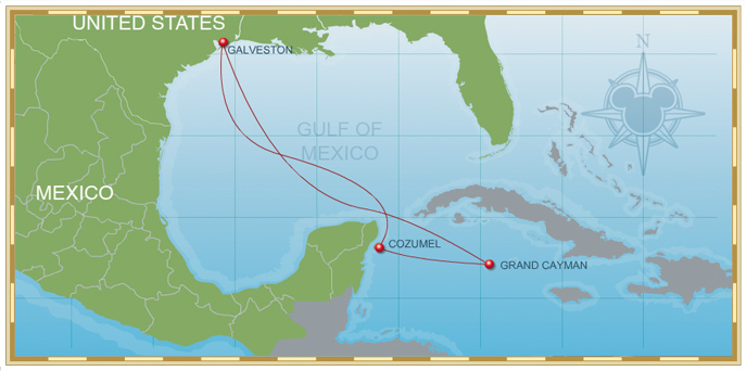 6-Night Western Caribbean Cruise on Disney Magic - Itinerary B Map