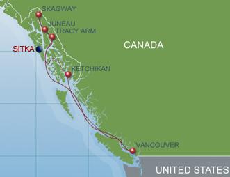 7-Night Alaskan Cruise Sitka Overlay