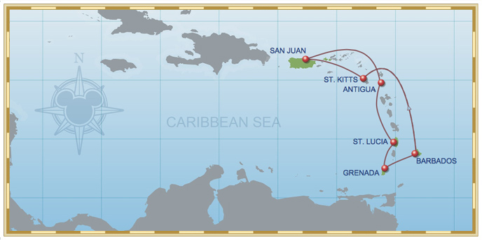 7-Night Southern Caribbean Cruise Disney Magic Itinerary A Itinerary Map