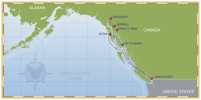 9-night Alaskan Cruise Disney Wonder Itinerary Map