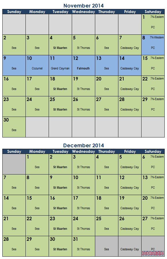 Calendar Prediction Fantasy 2014 - Nov-Dec