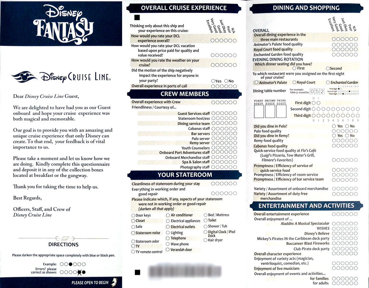 Put The Service To Test With Guest Comment Card O Disney