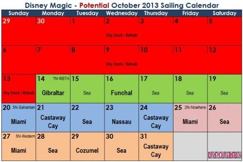 Magic October 2013 Potential Sailing Calendar