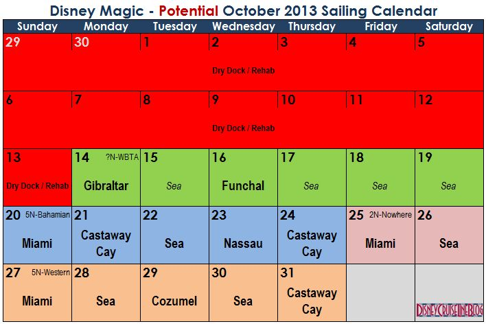 Magic October 2013 Potential Sailing Calendar