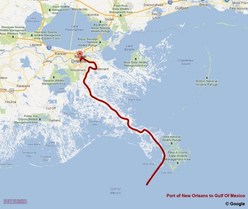 Port New Orleans to Gulf Of Mexico Map