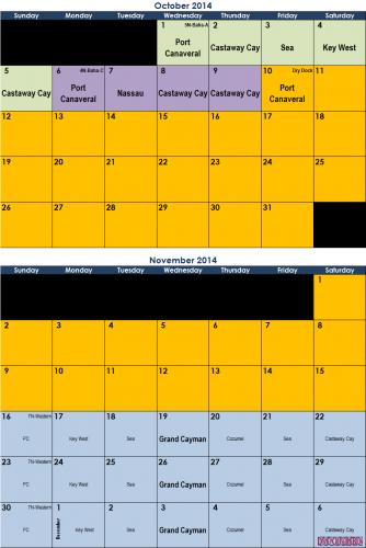 Wonder Calendar October - November 2014 Calendar Known Dates (Feb 2014)