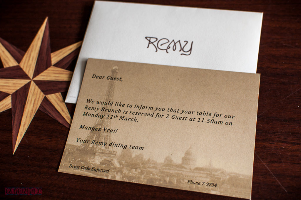 Remy Champagne Brunch Reservation Confirmation Note