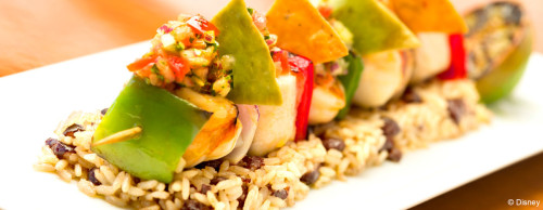 Carioca's - Lobster, Shrimp and Mahi Mahi Kebabs with Black Bean Rice and Pico de Gallo