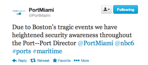 PortMiami Tweet - Heightened Security - April 16, 2013