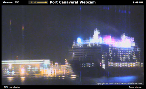 Disney Fantasy Pulling Away from Cruise Terminal Port Canaveral Webcam April 6 2013 9:48 PM