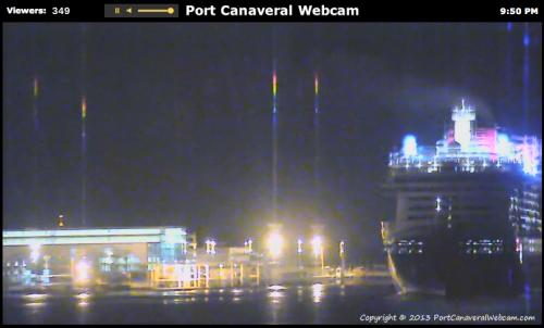 Disney Fantasy Leaving Port Canaveral Webcam April 6 2013 9:50 PM