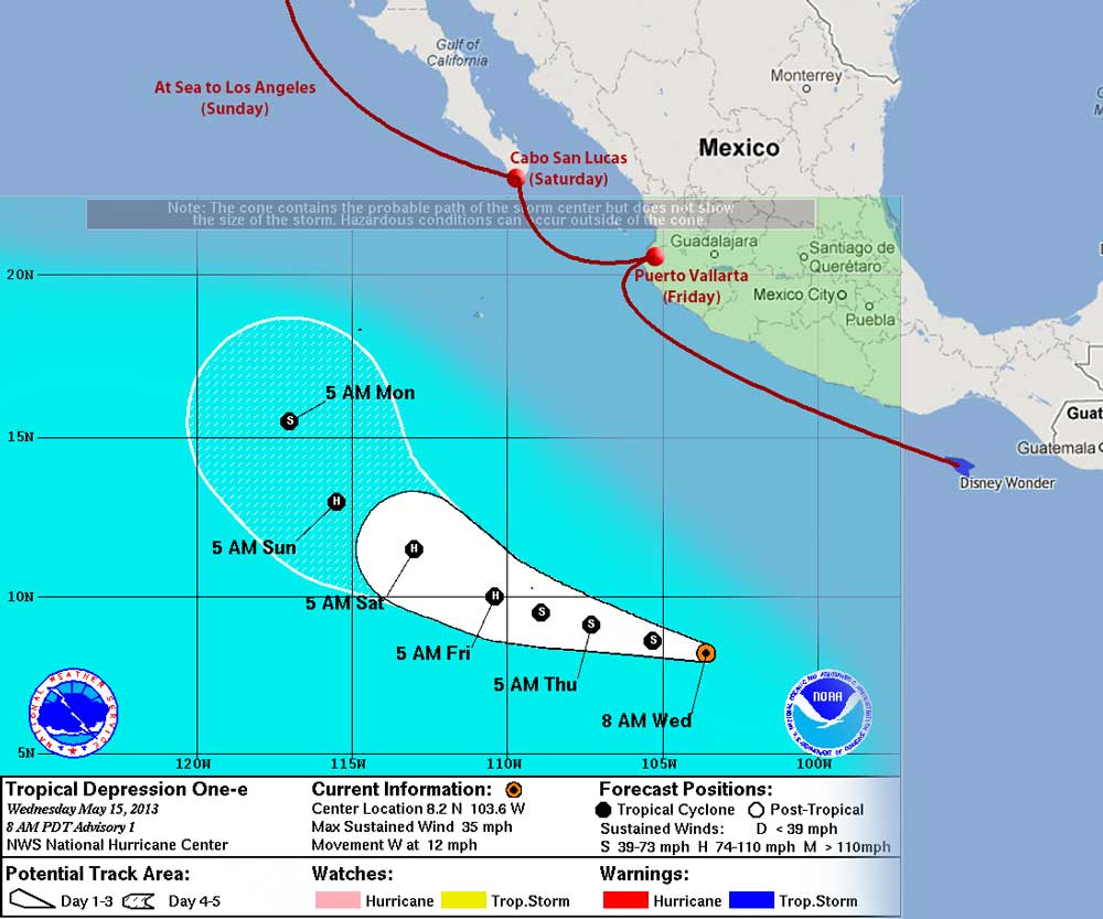 Disney Wonder's Position relative to Pacific Tropical Depression One-E 2013 May 15 8 AM