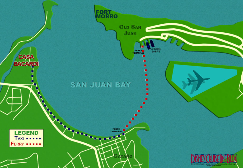 Directions (Map) from Old San Juan to Casa Bacardi
