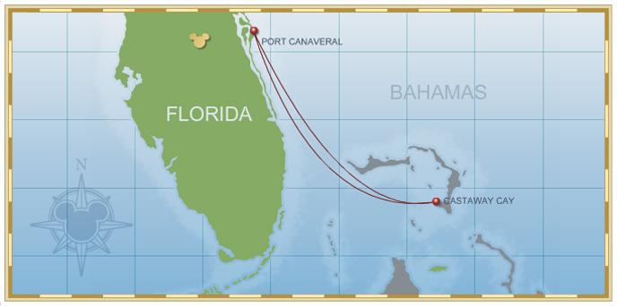 3-Night Bahamian Cruise on Disney Dream Itinerary H Map