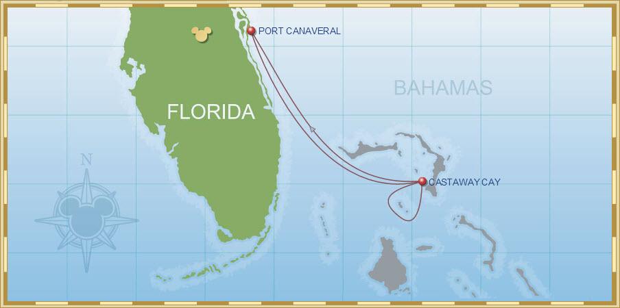 4-Night Bahamian Cruise on Disney Dream - Itinerary H Map