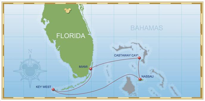 4-Night Bahamian Cruise on Disney Wonder - Itinerary B Map
