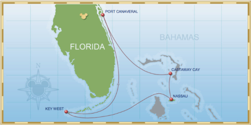 5-Night Bahamian Cruise on Disney Magic - Itinerary B Map