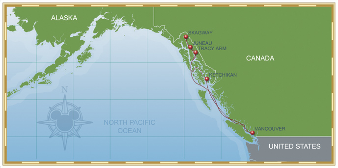 7-Night Alaskan Cruise Disney Wonder Itinerary A Map