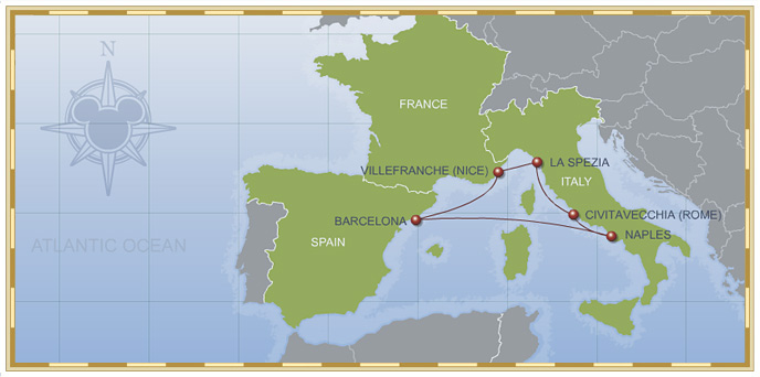 7-Night Mediterranean Cruise on Disney Magic Itinerary Map