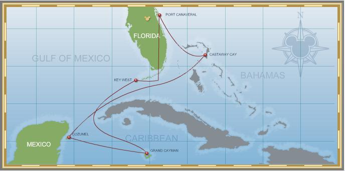 7-Night Western Caribbean Cruise on Disney Magic - Itinerary A Map