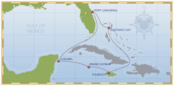 7-Night Western Caribbean Cruise on Disney Magic - Itinerary B Map