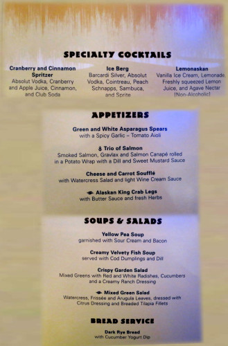 Taste of Alaska Menu - Cocktails Soups Salads Bread