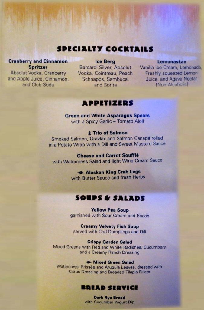 Taste of Alaska Menu - Cocktails Soups Salads Bread