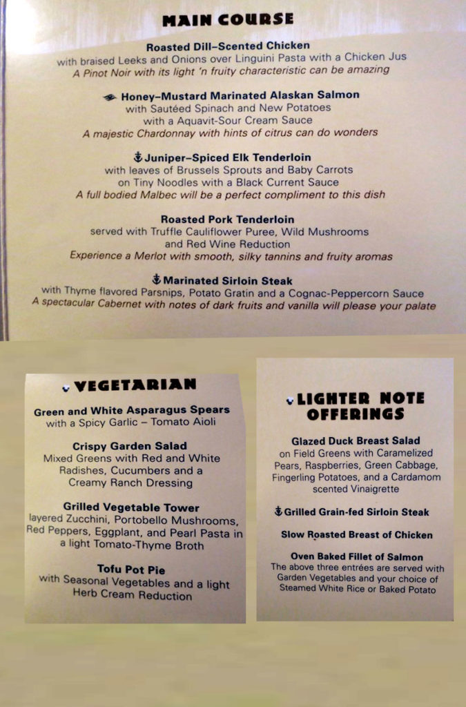 Taste of Alaska Menu - Main Course, Vegetarian and Lighter Note Offerings