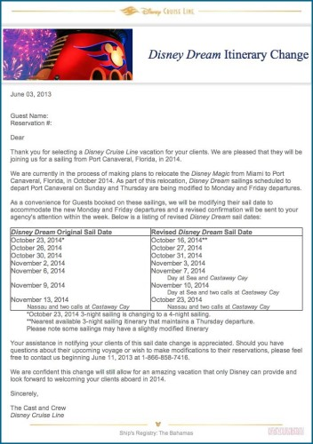 DCL Dream Itinerary Change Letter to Travel Agents June 3, 2013