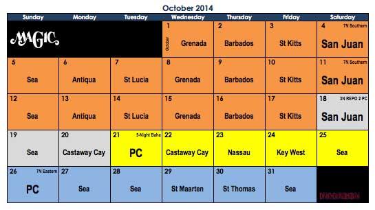 Disney Magic October 2014 Itinerary Calendar