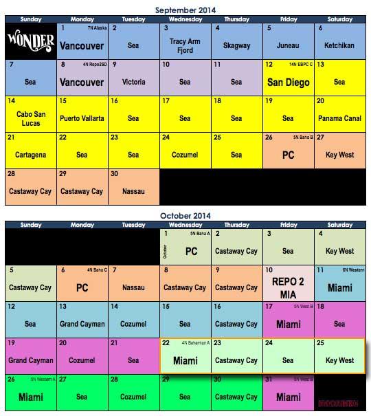 Disney Wonder September October 2014 Itinerary Calendar