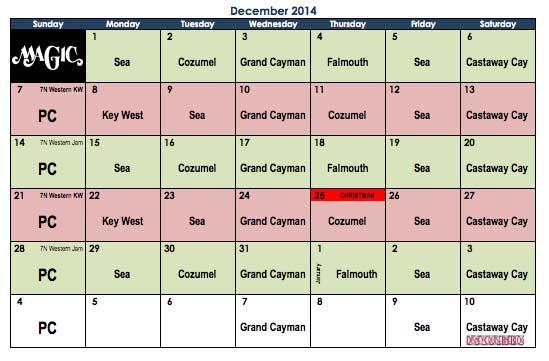 Disney Magic December 2014 Itinerary Calendar
