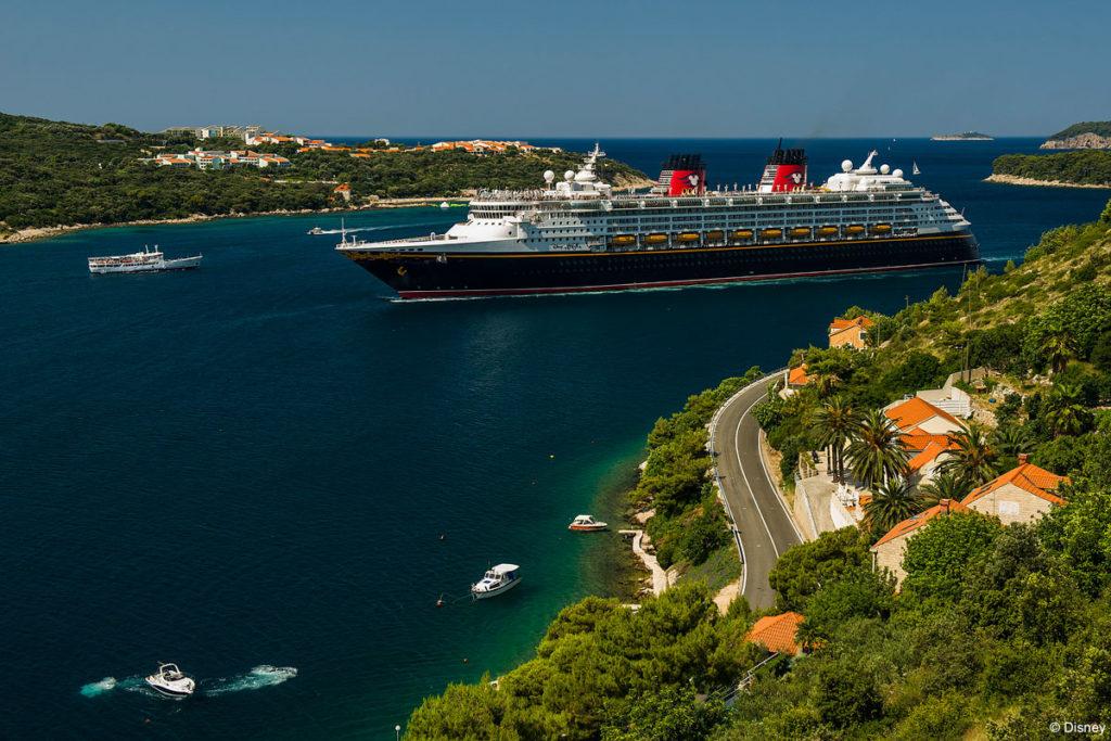 Franjo Tuđman Bridge view of the Disney Magic Dubrovnik, Coratia