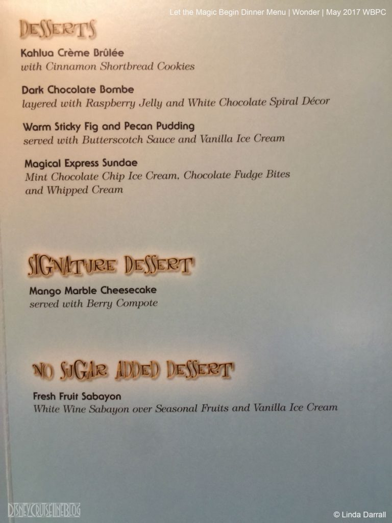 Let The Magic Begin Dessert Menu Wonder May 2017