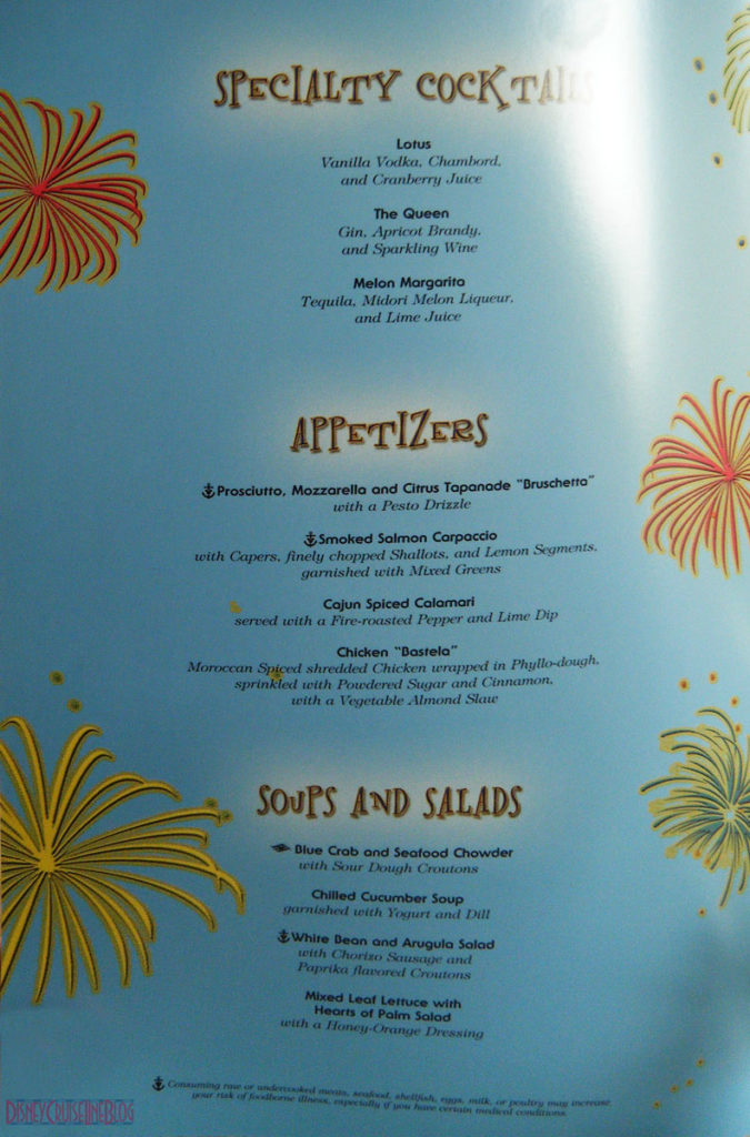 Let the Magic Begin Dinner Menu Inside 1 May 2013