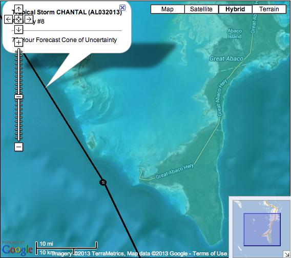 TS Chantal Google Map NHC Forecast 5PM 2013 Jul 9
