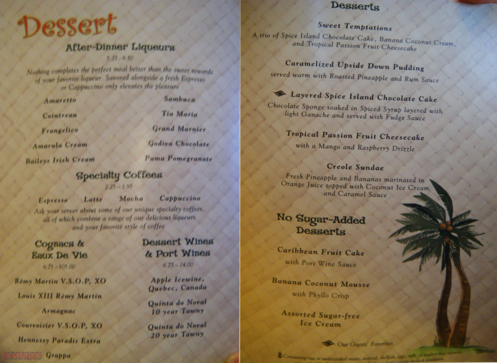 Taste of the Caribbean Menu Dessert Disney Magic May 2013