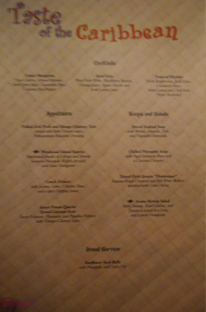 Taste of the Caribbean Menu Inside 1 Disney Magic May 2013