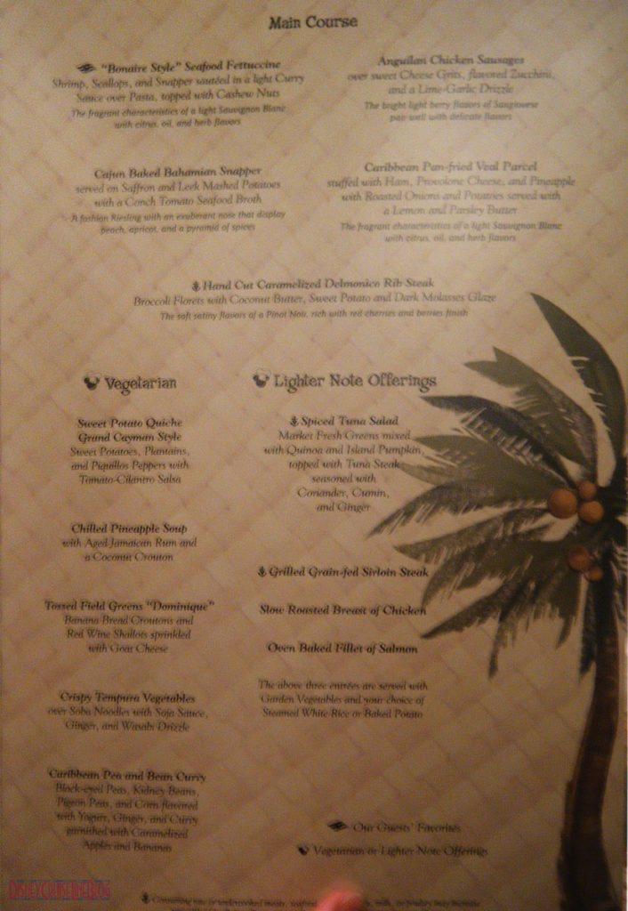 Taste of the Caribbean Menu Inside 2 Disney Magic May 2013