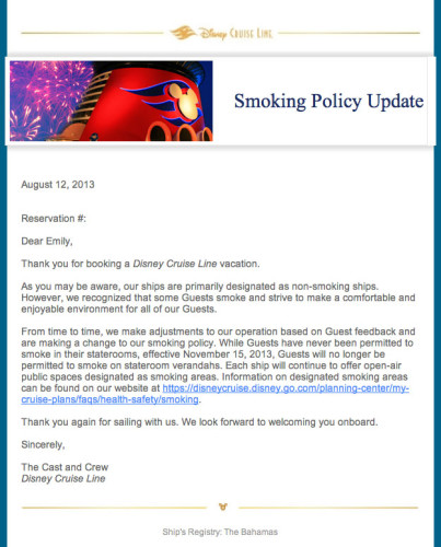 DCL Smoking Policy Email